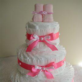 """Торт з памперсів """"Подарунок"""" для дівчинки"""