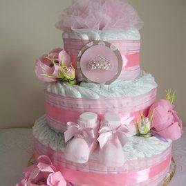 """Ніжний тортик з памперсів """"Для маленької принцеси"""""""